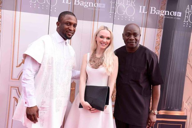 L-R Darey Art-Alade, Julia D. Lantieri, CEO, Alter Ego Project Group and Michael Owolabi at the launch of Alter Ego Private Atelier in Abuja