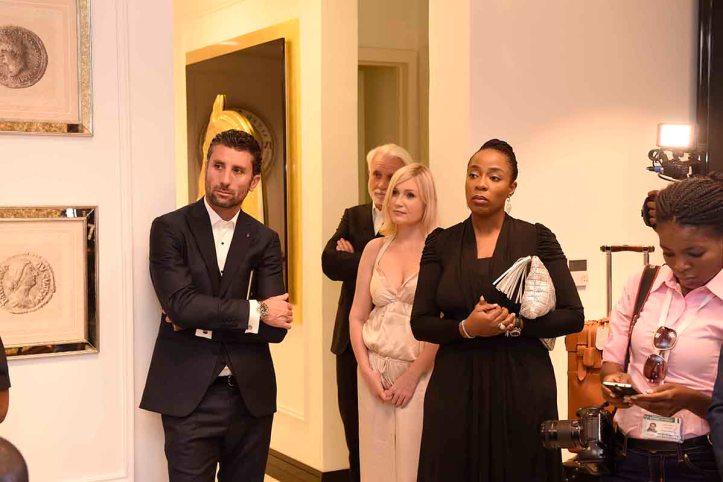 L-R Davide Doro, CEO, Alchymia, Larisa Girenok, Head of Global Communications & PR, Alter Ego Project Group and Adetola Owolabi, Executive Director, IL Bagno at the opening of Alter Ego