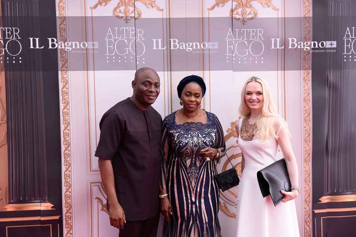 L-R Michael Owolabi, CEO, IL Bagno, Bola Shagaya and Julia D. Lantieri, CEO, Alter Ego Project Group at the opening of Alter Ego Private Atelier in Abuja