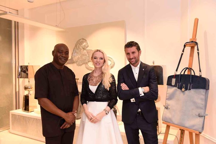 L-R Michael Owolabi, CEO, IL Bagno, Julia D. Lantieri, CEO, Alter Ego Project Group at the launch of Alter Ego and Davide Doro, CEO, Alchymia at the launch of Alter Ego Private Atelier