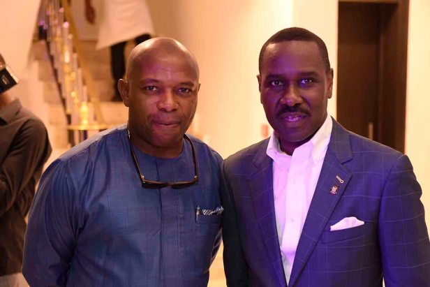 Michael Laolu Adeyeye, Founder, Laolu Adeyeye & Co with Pastor Ituah Ighodalo at the Grand Opening of Alter Ego Private Atelier