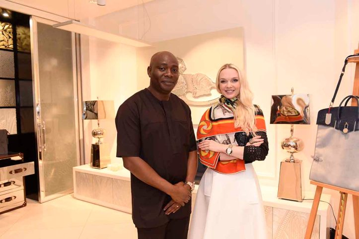 Michael Owolabi, CEO, IL Bagno with Julia D. Lantieri, CEO, Alter Ego Project Group at grand opening of Alter Ego Private Atelier, Abuja